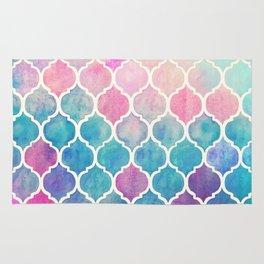 Rainbow Pastel Watercolor Moroccan Pattern Rug
