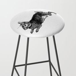 The Rabbit and Roses | Black and White Bar Stool