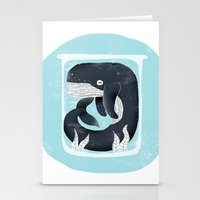 the whale Stationery Cards featuring Whale by Rodrigo Fortes