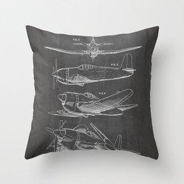 Wedberg Airplane Patent - Us Air Force Art - Black Chalkboard Throw Pillow