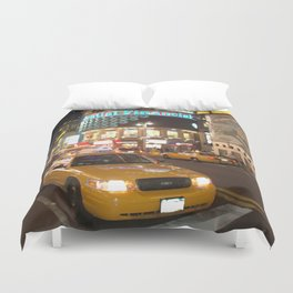 Yellow Cabs New York City and buildings with financial advertising Duvet Cover