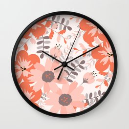 Big Flowers in Pink and Coral Red Wall Clock