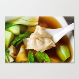 Chinese wanton soup with bok choy Canvas Print