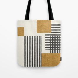 Stripes and Square Composition - Abstract Tote Bag