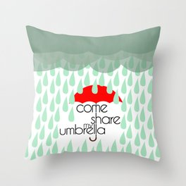 Come Share My Umbrella Throw Pillow