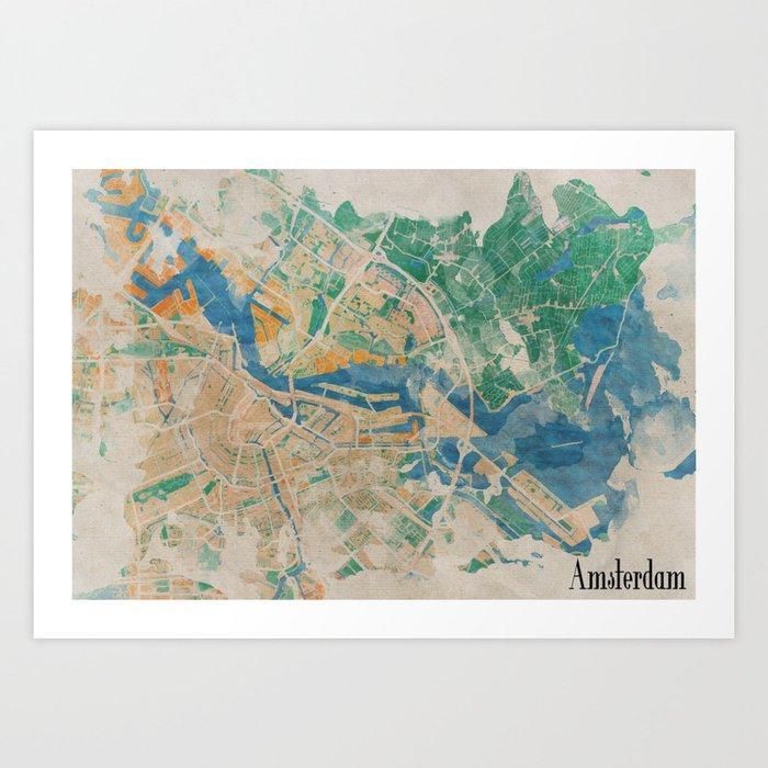 Amsterdam, the watercolor beauty Art Print