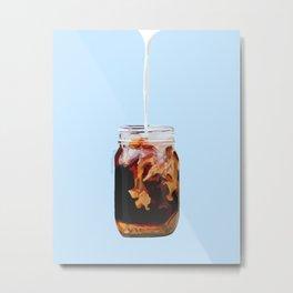 Coffee Swirl- Blue Metal Print