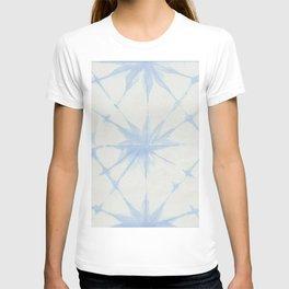 Shibori Starburst Sky Blue on Lunar Gray T-shirt