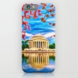 Spring Japanese Cherry Blossoms at the Jefferson Memorial Landscape by Jeanpaul Ferro iPhone Case