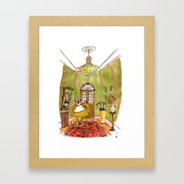 Colonel Mustard, with the spanner, in the hall Framed Art Print
