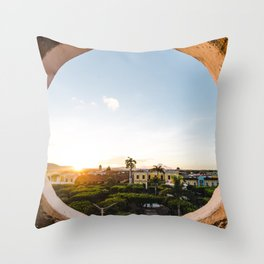Latin America Photograph - Round Window View Over The Colonial Plaza Of Granada, Nicaragua Throw Pillow