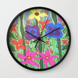 Bohemian Garden Floral Ilustration Wall Clock