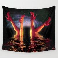 swim Wall Tapestries featuring night swim by KrisLeov