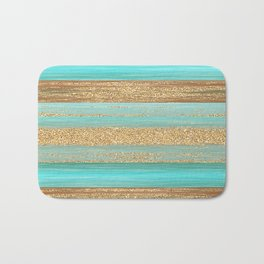 Turquoise Brown Faux Gold Glitter Stripes Pattern Bath Mat