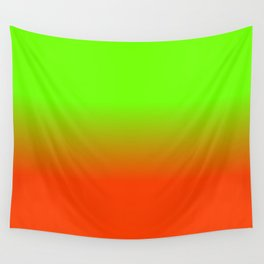 Neon Green and Neon Orange Ombré  Shade Color Fade Wall Tapestry