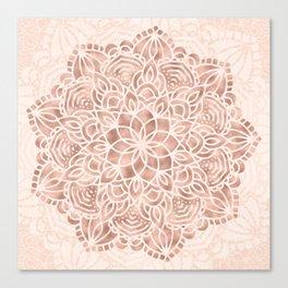Mandala Seashell Rose Gold Coral Pink Canvas Print