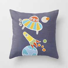 space flying Throw Pillow