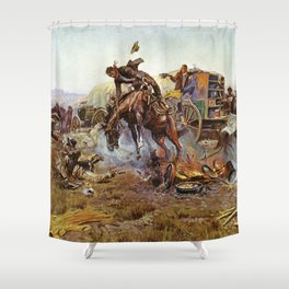 C.M. Russell Cook's Troubles Vintage Western Art Shower Curtain