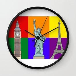 Rainbow Cities Wall Clock