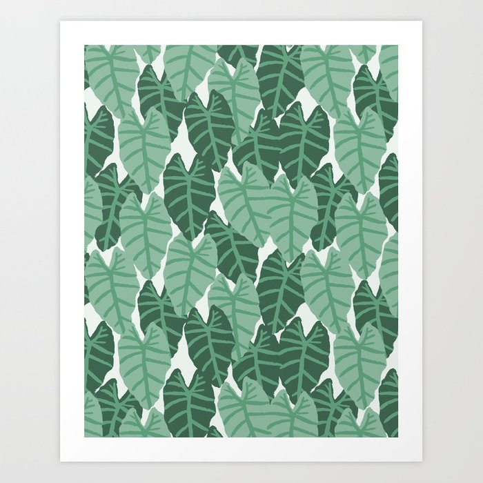 Alocasia indoor house plant hipster watercolor plant pattern botanical leaves green painting home Art Print