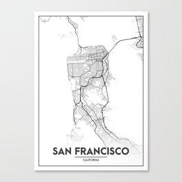 Minimal City Maps - Map Of San Francisco, California, United States Canvas Print