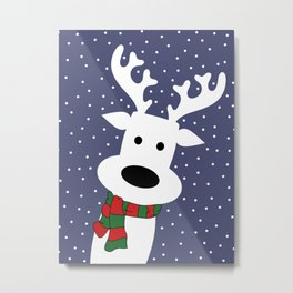 Reindeer in a snowy day (blue) Metal Print