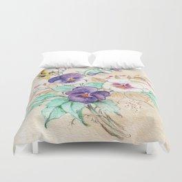 Pansies Bouquet Duvet Cover
