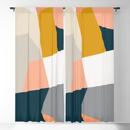 Abstract Geometric 27 Navy Blackout Curtain
