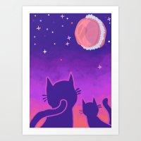 macaroon Art Prints featuring Macaroon Moon by Noirabbit