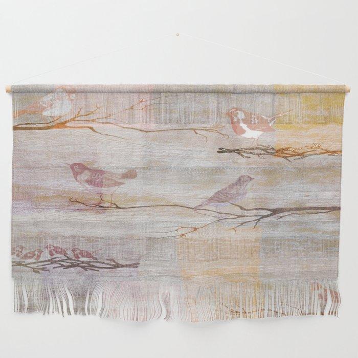 Golden Pink Birds Wall Hanging