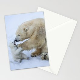 Polar bear with cub. Mother love. Stationery Cards