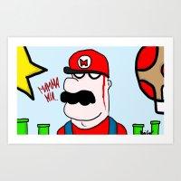 super mario Art Prints featuring Super Mario by Di Leo Comics