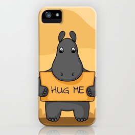 """Cute hand drawn Hippo with sign """"Hug me"""" iPhone Case"""