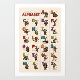 Animals & Instruments Alphabet Art Print