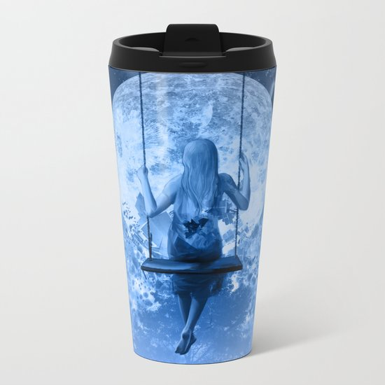 night in blue Metal Travel Mug