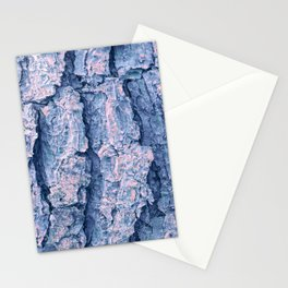 Soft blue and coral pine tree bark Stationery Cards