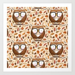 Seamless Owl Pattern Art Print
