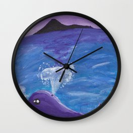 The Violet Whale Wall Clock