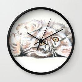 Cute Maine Coon Kitten Playing Wall Clock