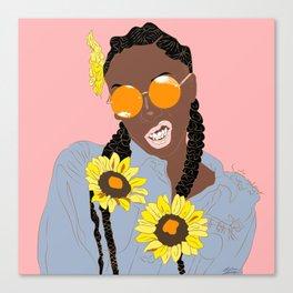 Believe in Yo Juice - Digital Black Goddess Vector Drawing Canvas Print