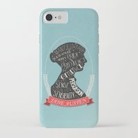jane austen iPhone & iPod Cases featuring Jane Austen Silhouette Portrait by Bookish Prints