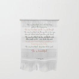 She Was Beautiful By F. Scott Fitzgerald 3 #minimalism #poem Wall Hanging
