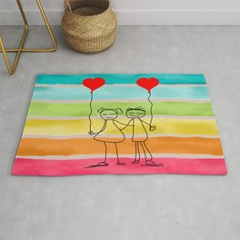 Hand drawn set by children, Vector love illustration, one line drawing, gifts for valentines day Rug