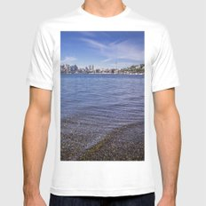 Lake Union and Seattle Skyline Mens Fitted Tee White MEDIUM