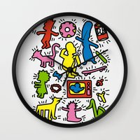 keith haring Wall Clocks featuring Keith Haring & Simpsons by le.duc
