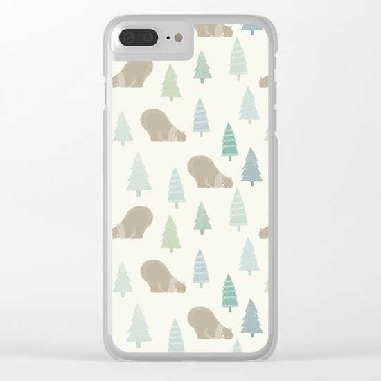 Merry Christmas Polar bear - Animal pattern Clear iPhone Case