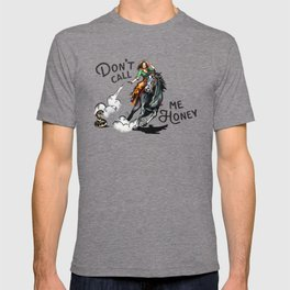 """Don't Call Me Honey"" Cowgirl On Horseback Shooting a Rattlesnake T-shirt"