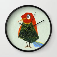 birdy Wall Clocks featuring Birdy by KristinaVardazaryan