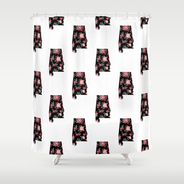 Alabama University Of Crimson Tide Floral College Football Pattern Gifts Shower Curtain