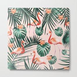 Tropical Flamingo Floral Summer Pattern #1 #tropical #decor #art #society6 Metal Print